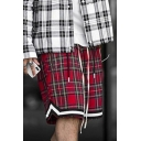 Sportive Shorts Plaid Pattern Contrast Trim Pocket Drawstring Mid Rise Relaxed Fitted Shorts for Men