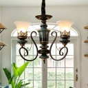 Bell Shade Dining Room Chandelier Lamp Vintage Frosted Glass 3/5/6-Bulb Black and Gold Pendant Light