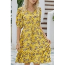 Fashionable Ditsy Floral Print Drawstring Waist Stringy Selvedge V Neck Short Puff Sleeve Knee Length A-Line Dress for Women