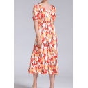 Popular All over Flower Printed Short Sleeve V-neck Mid A-line Dress in Red