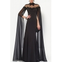 Amazing Black Applique Sheer Mesh Patchwork Backless Maxi A-line Gown for Ladies