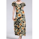 Popular All over Flower Printed Short Sleeve Sweetheart Neck Maxi A-line Dress in Black