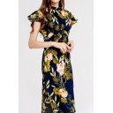 Unique All-over Flower Printed Butterfly Sleeve Mock Neck Mid A-line Dress for Women