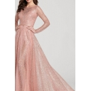 Boutique Womens Glitter Pink Long Sleeve Round Neck Maxi Pleated Flowy Dress