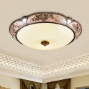 Country Bowl Shade Flush Light Fixture White Frosted Glass LED Flush Mount Lamp in Brass, 14
