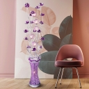 Purple Finish LED Floor Lighting Decorative Metallic Wire Stand Up Lamp for Parlour