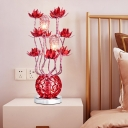 Lotus and Vase Bedside Table Light Art Deco Metal Wire Red/Purple Finish LED Desk Lamp, 16