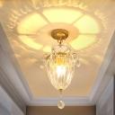 Inverted Bell Shaped Corridor Semi Flush Simple Clear Crystal Single Gold Finish Flush Ceiling Light