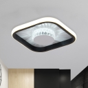 Crystal Round Small Flush Mount Light Simple Corridor LED Close to Ceiling Lighting with Black/White Square Frame