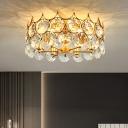 Crystal Embedded Gold Semi Flush Drum Shaped 6-Light Postmodern Ceiling Mount Light