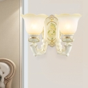 Asian Style Floral Shade Up Wall Lighting Idea 2 Heads White Glass Wall Mount Lamp