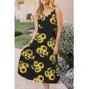 All over Sunflower Printed V-neck Midi A-line Fancy Tank Dress for Ladies