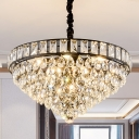Crystal Droplets Cone Shaped Drop Lamp Minimalist 6 Heads Bedroom Pendant Chandelier in Black