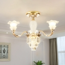 Tiered Crystal Prisms Semi Flush Traditional 3/6-Head Bedroom Flush Ceiling Light with Floral Opal Glass Shade in Gold