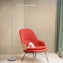 Simplicity Curved Line Stand Up Lamp Metal Living Room LED Standing Floor Lamp in Silver
