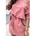 Trendy Womens Solid Color Short Sleeve Cold Shoulder Halter Bow Tie Waist Short A-line Dress