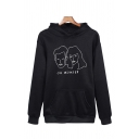 Stylish Letter Oh Wonder Cartoon Graphic Long Sleeve Relaxed Hoodie for Guys
