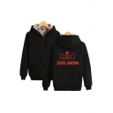 Cool Mens Letter Dog Mom Bone Graphic Long Sleeve Zip up Sherpa Liner Relaxed Hoodie