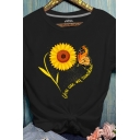 Stylish Sunflower Butterfly Print Rolled Short Sleeve Round Neck Slim Fit T-shirt for Girls