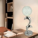Crystal Inserted LED Night Stand Lamp Modern Chrome Dolphin Playing Ball Sitting Room Table Lighting