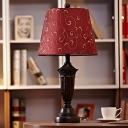 Burgundy Scroll Patterned Night Light Vintage Fabric 1-Light Dining Room Table Lamp