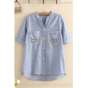 Casual Womens Floral Embroidered Chest Pockets Rolled Short Sleeve V-neck Button down High Low Hem Loose Shirt Top