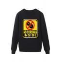 Trendy Virus Letter No Coronas inside Printed Pullover Long Sleeve Round Neck Regular Fit Graphic Sweatshirt for Men