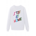 Simple Letter Stay at Home Printed Pullover Long Sleeve Round Neck Regular Fitted Graphic Sweatshirt for Men