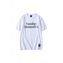Simple Letter Sunday Memories Printed Round Neck Short Sleeve Relax Fitted Tee Top for Men