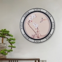 Blooming Peach Tearoom Wall Mural Lamp Fabric Asian LED Wall Lighting Ideas in Pink