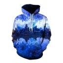 Cool 3D Mountain Ice Pattern Pocket Drawstring Long Sleeve Regular Fit Hooded Sweatshirt for Men