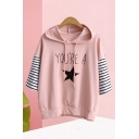 Popular Womens Letter You're A Star Graphic Striped Patched 3/4 Sleeve Hooded Drawstring Loose T Shirt