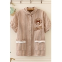 Womens Chic Gingham Letter Bear Contrast Lace Trim Button-up Turn-down Collar Short Sleeve Graphic Shirt with Pockets