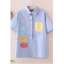 Fancy Womens Applique Button-up Drop Shoulder Short Sleeve Turn-down Collar Regular Fit Shirt