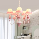Unicorn Chandelier Light Cartoon Resin 5-Head Kids Room Ceiling Pendant with Cone Fabric Shade in Blue/Pink/Yellow
