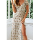 Ditsy Floral Printed Puff Sleeve Sweetheart Neck Button up Slit Mid A-line Stylish Dress in Red