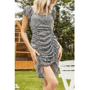 Fancy Womens Ditsy Floral Print Puff Sleeve Round Neck Drawstrng From Short Shift Dress in Blue