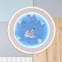 Mediterranean Sailboat Acrylic Mural Lamp Round LED Flush Mount Wall Sconce in Blue for Decoration
