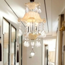 Frosted Glass Ruffle Small Chandelier Modern Style 3-Light Corridor Pendant Light with Clear Crystal Drop