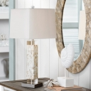 1-Bulb Night Table Light with Rectangle Shade Fabric Farmhouse Living Room Desk Lamp in White