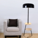 Round Bedside Reading Floor Lamp Iron 1 Head Nordic Floor Standing Light with 3-Layer Wood Table in Black