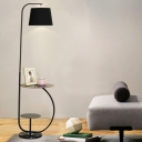1-Light Living Room Standing Light Minimalist Black Adjustable Floor Lamp with Table and Barrel Fabric Shade