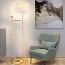 Postmodern Drum Feather Floor Lamp 1-Light Floor Standing Light with Clothe Rack in Black/Gold