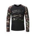 Stylish Camouflage Patchwork Letter Original Printed Crew Neck Long Sleeve Slim Fit Raglan T-Shirt for Men