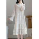 Popular Girls Flower Embroidered Sheer Lace Long Sleeve Mock Neck Ruffle Mid Pleated A-line Dress in Apricot