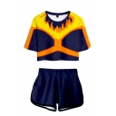 Popular Contrasted Geo Flame 3D Print Short Sleeve Crew Neck Relaxed Crop Tee & Shorts Co-ords in Navy