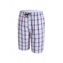 Retro Plaid Printed Drawstring Pocket Knee Length Straight Fitted Lounge Shorts for Men