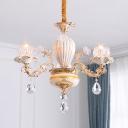 Floral Dining Room Chandelier Lighting Mid Century Crystal 3 Lights Gold Hanging Lamp