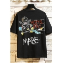 Popular Mens Character Letter Hzyipai Mabe Printed Short Sleeve Round Neck Regular Fit Graphic Tee Top