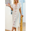 Trendy Womens Hollow out Trim Short Sleeve V-neck Slit Sides Mid Shift Dress in White